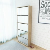 Shoe Cabinet 5-Layer Mirror Oak 63x17x169.5 cm