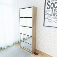 Shoe Cabinet 5-Layer Mirror Oak 63x17x169.5 cm - ASUPERMALL