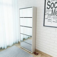 Shoe Cabinet 5-Layer Mirror White 63x17x169.5 cm - YOUTHUP