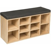 Shoe rack with bench - shoe cabinet, shoe cupboard, shoe storage cabinet - dark grey/light oak - TECTAKE