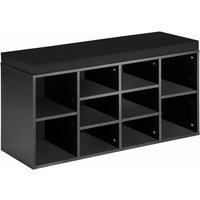 Tectake - Shoe rack with bench - shoe cabinet, shoe cupboard, shoe storage cabinet - black