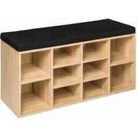Shoe rack with bench - shoe cabinet, shoe cupboard, shoe storage cabinet - black/light oak - TECTAKE
