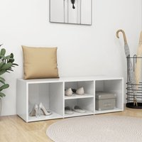 Shoe Storage Bench High Gloss White 105x35x35 cm Chipboard37229-Serial number