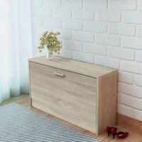 Shoe Storage Bench Oak 80x24x45 cm - Brown - ZQYRLAR