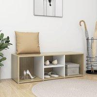 Shoe Storage Bench White and Sonoma Oak 105x35x35 cm Chipboard