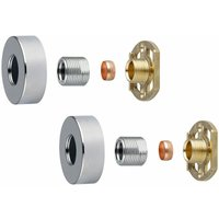 Shower Bar Valve Easy Fast Fix Fitting Kit: Round Chrome Shrouds Fixing Included
