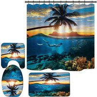Shower Curtain Set Underwater Pattern Bath Curtains Bathroom Mats 4PCS Shower Curtain Mat Set