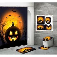 Shower Curtain Sets 4 Piece,Halloween Pumpkin Skull Castle Print Shower Curtain Non Slip Bathroom Carpet Pedestal Rug Toilet Seat Cover Decor