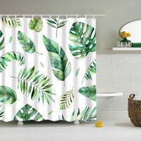 Briday - Shower Curtains No Liner, Waterproof Polyester Shower Curtain Fabric Set with Plastic Hooks for Bathroom Decorations, Modern Concise Design