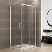 Shower Enclosure Corner Entry Shower Cubicle Square Sliding Door 1100 x 900 mm - ELEGANT