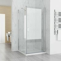 1000 x 700 mm Shower Enclosure Cubicle 180° Pivot Door Frameless with 700 mm Side Panel 6 mm Easy Clean Glass 1850 Height - No Tray