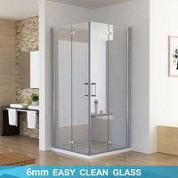 900 x 800 mm Shower Enclosure Cubicle Door Corner Entry Bathroom 6mm Safety Easy Clean Nano Glass Bifold Door Frameless - No Tray - Miqu