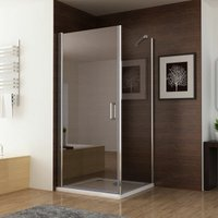 800 x 800 mm 180° Pivot Door with 800 mm Side Panel Shower Enclosure Frameless 6mm Easy Clean Nano Glass 1850 mm Height - No Tray - MIQU
