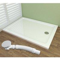 Slimline Rectangular Acrylic Tray Shower Enclosure Tray with Drain Shower Base 1000x900mm + Free Waste Trap - MIQU