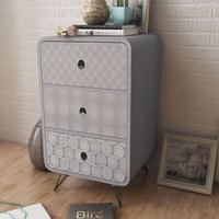 Betterlifegb - Side Cabinet with 3 Drawers Grey9787-Serial number