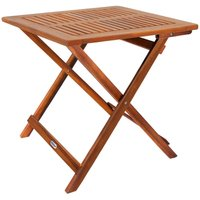 Deuba Small Coffee Table Wood 70 x 70 cm Folding and Light Square Side Bistro for Patio Garden Living Room Outdoor Top