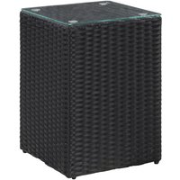 Side Table with Glass Top Black 35x35x52 cm Poly Rattan - Black