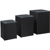 vidaXL Side Tables 3 pcs with Glass Top Black Poly Rattan - Black