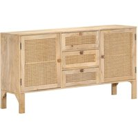Sideboard 150x40x80 cm Solid Mango Wood and Natural Cane - YOUTHUP