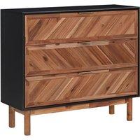 Sideboard 90x33.5x80 cm Solid Acacia Wood and MDF - VIDAXL