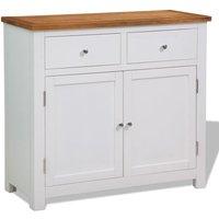 Sideboard 90x33.5x83 cm Solid Oak Wood - White