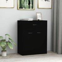 Zqyrlar - Sideboard Black 60x30x75 cm Chipboard - Black