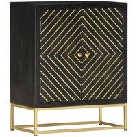 Zqyrlar - Sideboard Black and Gold 60x30x75 cm Solid Mango Wood - Black