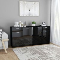 Sideboard High Gloss Black 160x36x75 cm Chipboard - YOUTHUP