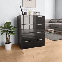 Youthup - Sideboard High Gloss Black 60x35x76 cm Chipboard