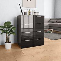 Sideboard High Gloss Black 60x35x76 cm Chipboard - Black