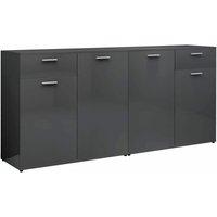 Sideboard High Gloss Grey 160x36x75 cm Chipboard - VIDAXL