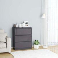 Zqyrlar - Sideboard High Gloss Grey 60x35x76 cm Chipboard - Grey