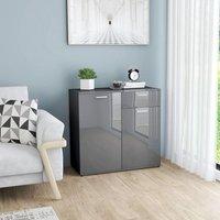 Sideboard High Gloss Grey 80x36x75 cm Chipboard