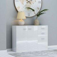 Sideboard High Gloss White 105x30x75 cm Chipboard - White - ZQYRLAR