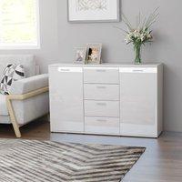 Zqyrlar - Sideboard High Gloss White 120x35,5x75 cm Chipboard - White