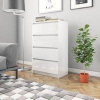 Zqyrlar - Sideboard High Gloss White 60x35x98.5 cm Chipboard - White
