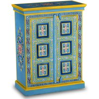 Sideboard Solid Mango Wood Turquoise Hand Painted - YOUTHUP