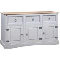 Sideboard Solid Mexican Pinewood Corona Range Grey 132x43x78 cm - YOUTHUP