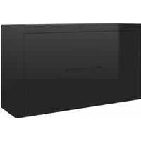 Sideboard 120x36x69 cm Chipboard High Gloss Black - VIDAXL