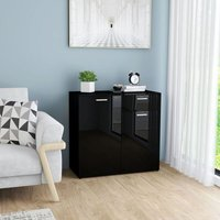 Sideboard Chipboard High Gloss Black 80x36x75 cm - Black - Vidaxl