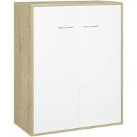 Sideboard White and Sonoma Oak 60x30x75 cm Chipboard - VIDAXL