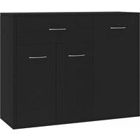 Sideboard Black 88x30x70 cm Chipboard - Black - Vidaxl