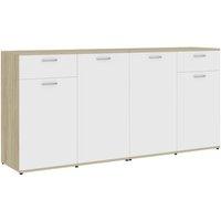 Sideboard White and Sonoma Oak 160x36x75 cm Chipboard - VIDAXL