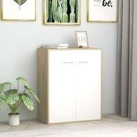 Zqyrlar - Sideboard White and Sonoma Oak 60x30x75 cm Chipboard - White