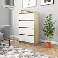 Sideboard White and Sonoma Oak 60x35x98.5 cm Chipboard - Multicolour