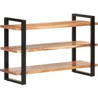 Sideboard with 3 Shelves 120x40x75 cm Solid Acacia Wood - Brown - Vidaxl