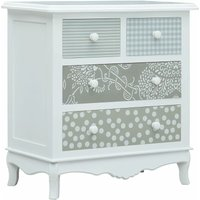 Sideboard with 4 Drawers White and Grey 65.5x35x68 cm MDF - YOUTHUP