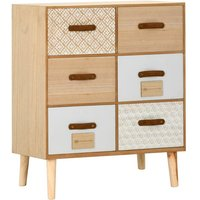 Sideboard with 6 Drawers 60x30x75 cm Solid Pinewood - YOUTHUP