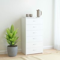 Sideboard with 6 Drawers White 50x34x96 cm Chipboard - White - Vidaxl