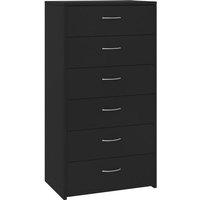 vidaXL Sideboard with 6 Drawers Black 50x34x96 cm Chipboard - Black